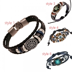 Men Women Leather Bracelet Fashion Jewelry Braided Vintage Leather Bracelet Christmas gift Style 1 as picture