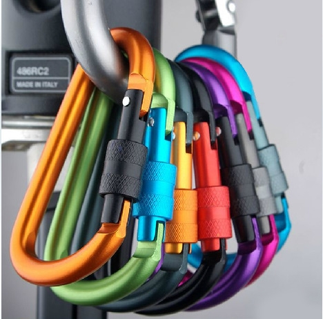 1pc 7.5cm Outdoor Buckle With Lock Aluminium Alloy Climbing Button Carabiner Camping Hiking Hook Multicolor 7.8cm*4cm