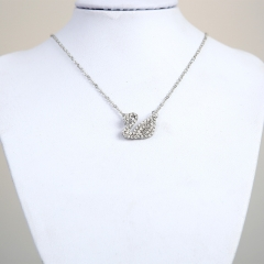 Women Crystal jewelry Wholesale Silver Plated Cute Swan Necklace pendant chain christmas gift silvery one size