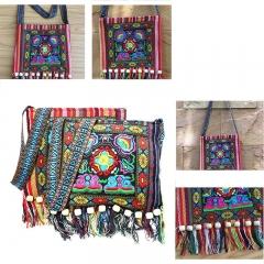 Ladies Vintage Ethnic Shoulder Bag Embroidery Boho Hippie Tassel Tote Messenger red one size
