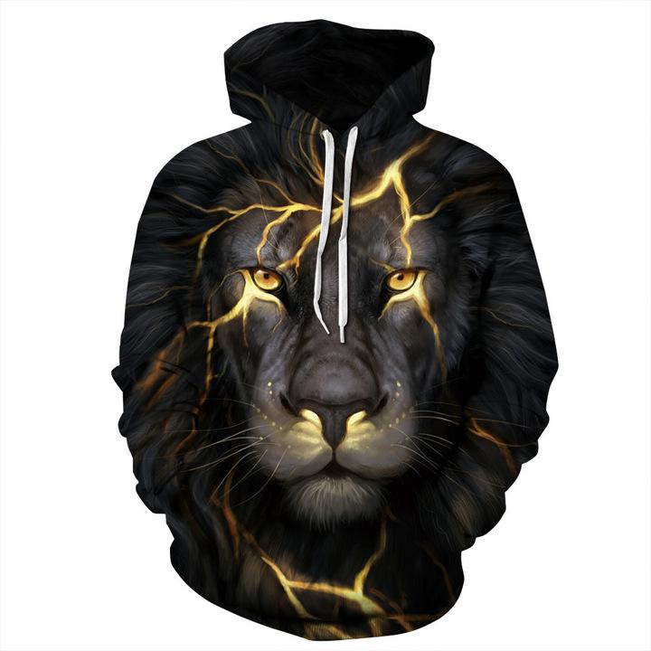 Men Women Thin Sweatshirts Fashion Pullover Lion Wolf Hoodies 3D Autumn Tracksuits Harajuku Hoodies lion 4XL