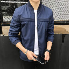 New Mens Wear Casual Solid Jacket Fashion Slim Bomber Tops Male Baseball windbreaker Jackets Coat blue 3XL