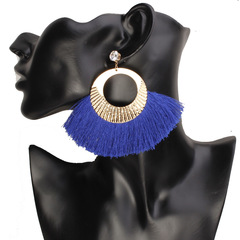 New Fashion Jewellery Women Fashion Fan fringed gold earrings rhinestone ladies earrings blue one pair
