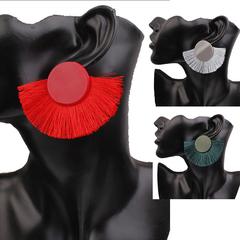 Women Fashion Bohemian ethnic style tassel earrings temperament circle fan earrings gift for ladies red one pair