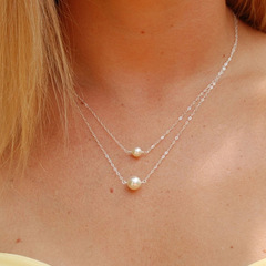 Women double pearl necklace short summer clavicle chain simple female fashion wild pendant silvery one size