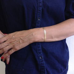 Women Fashion Fish bone chain bracelet handmade chain bracelet anklet dual purpose gold one size