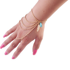 Women Fashion Simple fashion retro style leaves turquoise tassel multi-layered finger bracelet gold one size