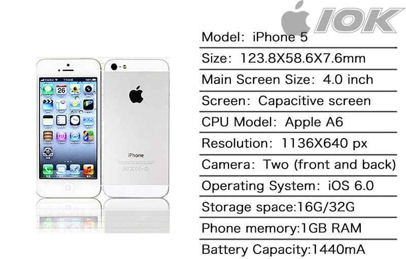 iPHONE 5 32GB Unlocked Smartphone Mobile Sales promotion Certified Refurbished new good battery white 5
