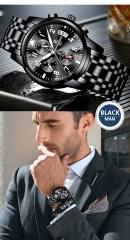 Men`s fashion classic watch. Multi-function steel strap quartz business watch. waterproof watch Black 4.1*10*25
