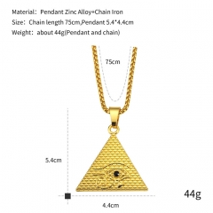 Men's Fashion Jewelry. Eye of Horus Pyramid High quality plating gold and silver silver 75cm silver 75