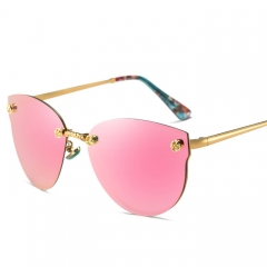 Women`s fashion polarized sunglasses Personality color film large frame repair face Sunglasses pink free