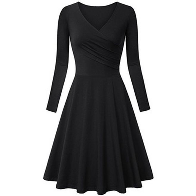 Charm elegant dresses women  dress fashion big size V-neck  A line dress black M