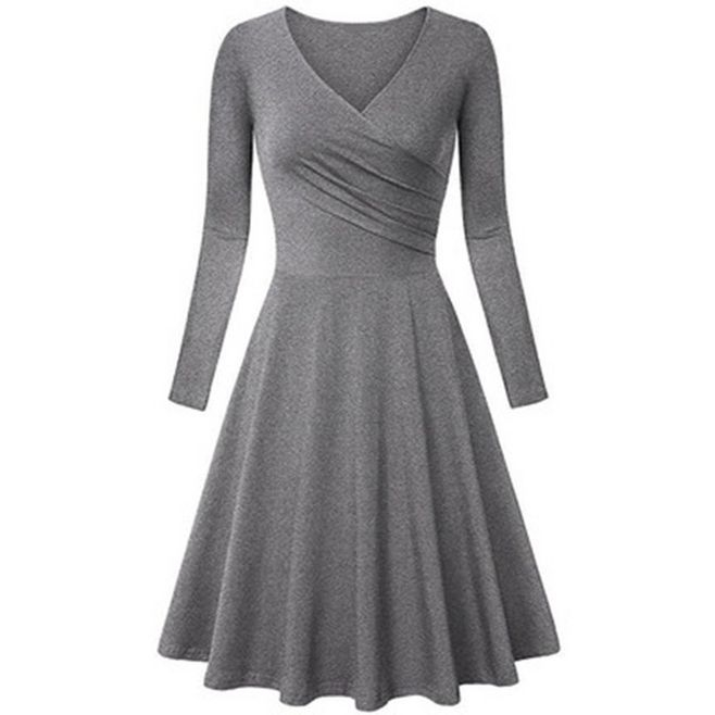 Charm elegant dresses women  dress fashion big size V-neck  A line dress Gray XL