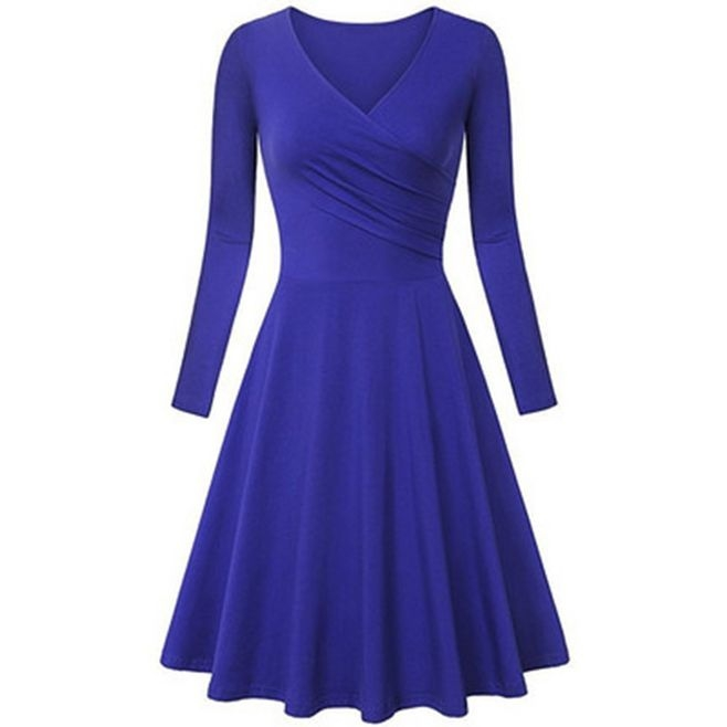 Charm elegant dresses women  dress fashion big size V-neck  A line dress blue XL