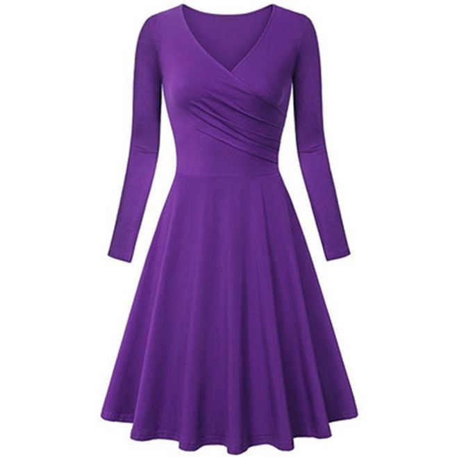 Charm elegant dresses women  dress fashion big size V-neck  A line dress purple XL