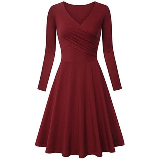Charm elegant dresses women  dress fashion big size V-neck  A line dress red XXL