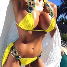 2018  Big Crystal Diamond Bikinis High Quality Set Swimwear Sexy Hot Sale  Women Bikinis Suits Yellow M