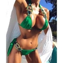 2018  Big Crystal Diamond Bikinis High Quality Set Swimwear Sexy Hot Sale  Women Bikinis Suits Green XL
