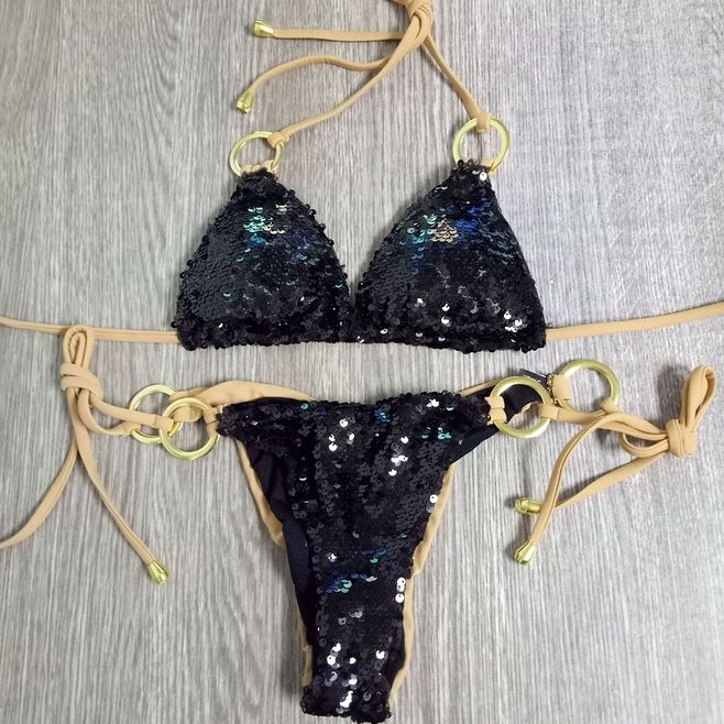 2018 new style  bling bling Sequined triangle bikini swimsuit women sexy hot bikins black m