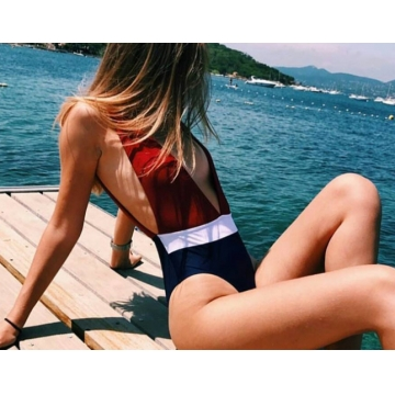 Sexy women swimsuit deep V bule and red one piece swimming suit blue s