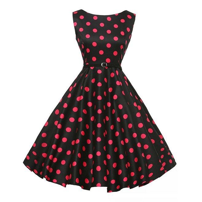 Hepburn style lady dress A style  Show waist fine expansion women  skirt with belt 2 xl