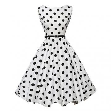 Hepburn style lady dress A style  Show waist fine expansion women  skirt with belt 3 xxl