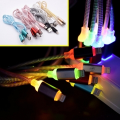 AndroidMobile Phone LED Luminous Data Line USB Optical Fiber Colorful Gradual Change Light Cable Blue 1M