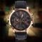 Universal Casual Stylish Numerals PU Leather Alloy Quartz Watch Black one size