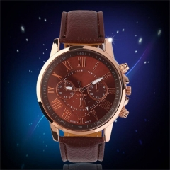 Universal Casual Stylish Numerals PU Leather Alloy Quartz Watch Brown one size