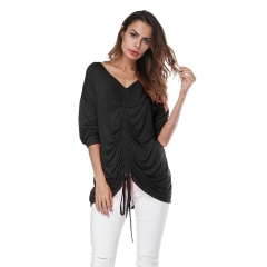 Women's 7 Cent Sleeved Fashion Casual Blouse With A T-shirt And A Round Neck S-2XL Black S