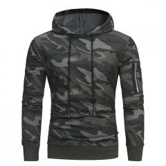 2018 Camouflage Men's Hoodie Autumn Winter New Fashion Men's Slim Pullover Sweatshirt green camo xxl