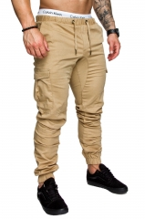 Tooling multi-pocket trousers men's woven fabric sports casual pants strong & comfortable beam pants khaki l