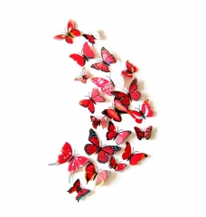 12 Pieces Simulation Butterfly Color 3D Wall Sticker Living Room Bedroom Decorating Fridge Applique red onesize