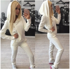 Women Sports Casual Two-piece Long-Sleeved Zipper Lady European American Trendy white s