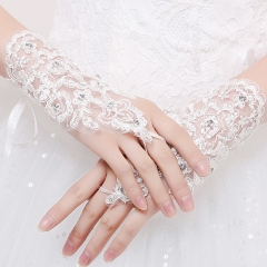 Bridal gloves wedding accessories satin fashion embroidery diamond lace weaves cestbella short white