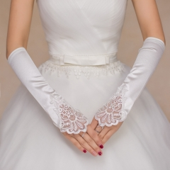 Bridal gloves wedding accessories satin fashion embroidery lace weaves elegant cestbella long white
