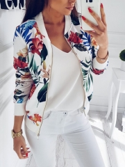 Fashion Women Baseball Jacket Casual Coat  Lady Sweatshirt Outwear Girl Zipper Blazer Floral Prints white m