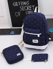 3Pcs Canvas Backpacks Shoulder Handbag tote Wrist Wallet Student School Back pack Travel Laptop bag dark blue standard