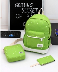 3Pcs Canvas Backpacks Shoulder Handbag tote Wrist Wallet Student School Back pack Travel Laptop bag green standard