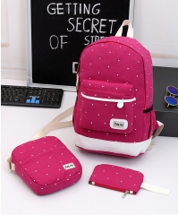 3Pcs Canvas Backpacks Shoulder Handbag tote Wrist Wallet Student School Back pack Travel Laptop bag pink standard