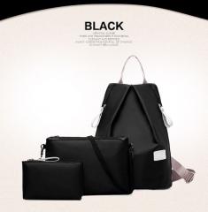 3Pcs Women Waterproof Backpacks Shoulder Handbag tote Wrist Wallet Fashion Lady Back pack bag black standard