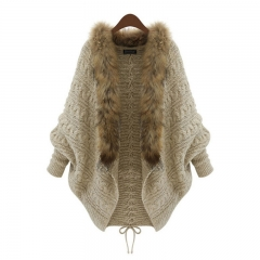 Women knit sweater crochet lady top shawls warm wraps poncho coat fashion luxury autumn fur collar khaki standard