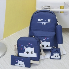 5Pcs Canvas Backpacks Shoulder Handbag tote Wrist Wallet Student School Back pack Travel Laptop bag dark blue standard