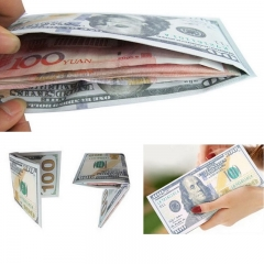 Unique Fashion Men Women PU leather Purse Wallet Money Clip Card Holder Dollar Printed Pattern 100 dollar standard