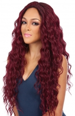Christmas Female Wig Wine Red Head Cover Curled Hair wine red 30 inches