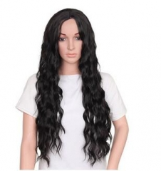 Christmas Female Wig Wine Red Head Cover Curled Hair Black 30 inches
