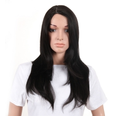 Hot Sales Black Straight Hair Chemical Fiber Wig black 18 inches