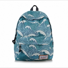 High School Girl Bag Fresh Print Travel Backpack Waterproof Shoulder Bag 001 16.5inches