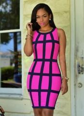 Lady Fashion Sleeveless Print Dress Sexy Buttocks m pink