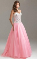 New European and American Sequins Stitching Waist Tuxedo Dress  long skirt Dinner Dress m pink
